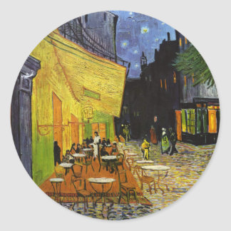 Cafe Terrace at Night Van Gogh Round Sticker