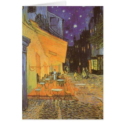 Cafe Terrace Night, van Gogh Vintage Impressionism Greeting Card