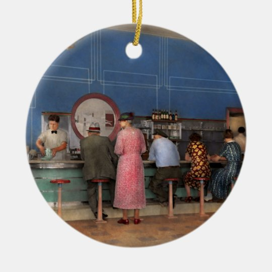 Cafe - The half way point 1938 Ceramic Ornament