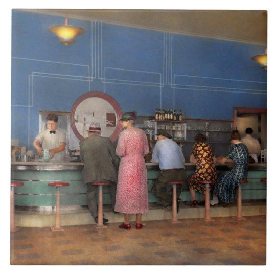 Cafe - The half way point 1938 Ceramic Tile