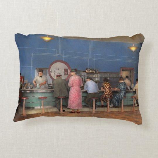 Cafe - The half way point 1938 Decorative Cushion