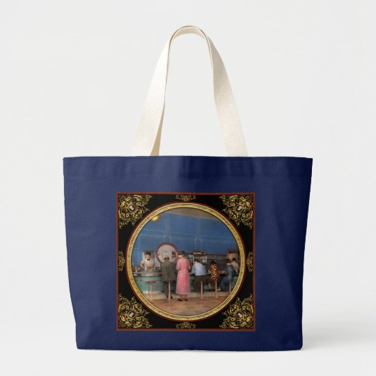 Cafe - The half way point 1938 Large Tote Bag