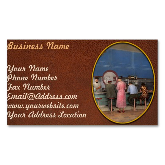 Cafe - The half way point 1938 Magnetic Business Card