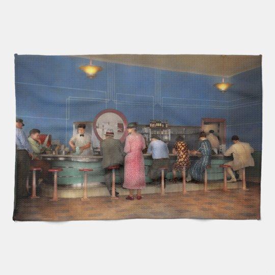 Cafe - The half way point 1938 Tea Towel