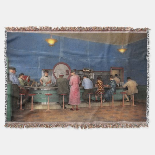 Cafe - The half way point 1938 Throw Blanket