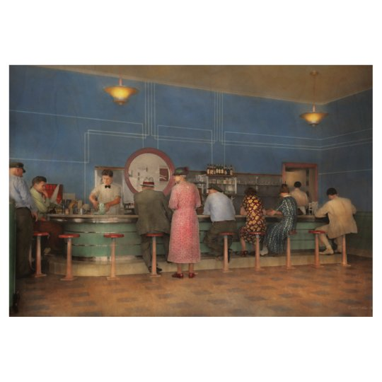 Cafe - The half way point 1938 Wood Poster
