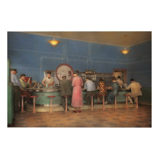 Cafe - The half way point 1938 Wood Print