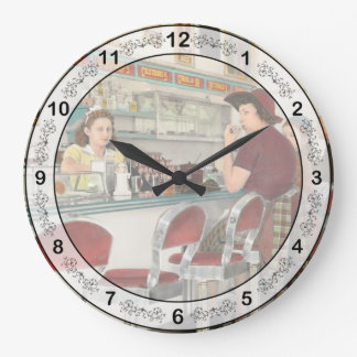 Cafe - The local hangout 1941 Large Clock