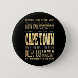 Cafe Town City of South Africa Typography Art 6 Cm Round Badge