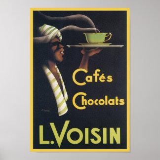 Cafes Chocolats L. Voisin Vintage Ad Poster