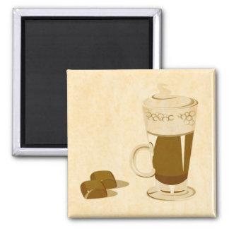 caffe and chocolate square magnet
