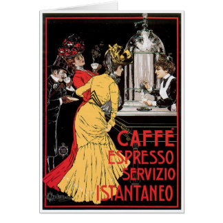 Caffe Espresso Vintage Coffee Drink Ad Art Note Card