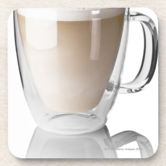 Caffe latte, on white background, cut out drink coasters