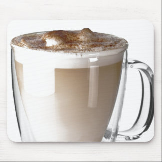 Caffe latte, on white background, cut out mouse pad