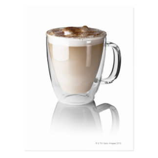 Caffe latte, on white background, cut out postcard
