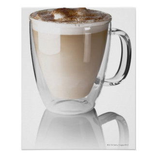 Caffe latte, on white background, cut out poster