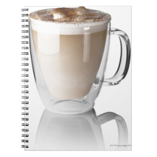 Caffe latte, on white background, cut out spiral notebook