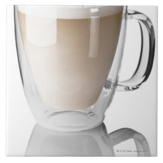 Caffe latte, on white background, cut out large square tile