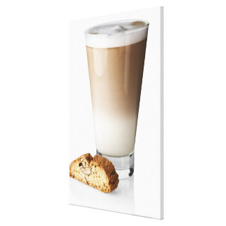 Caffe latte with biscotti, on white background, stretched canvas prints
