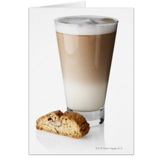 Caffe latte with biscotti, on white background, cards