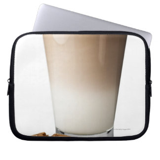 Caffe latte with biscotti, on white background, laptop computer sleeve