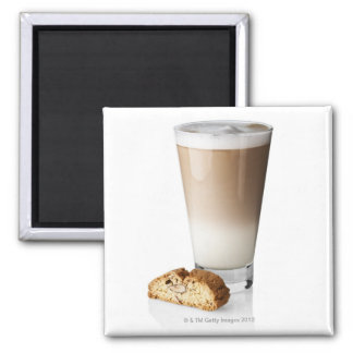 Caffe latte with biscotti, on white background, refrigerator magnet
