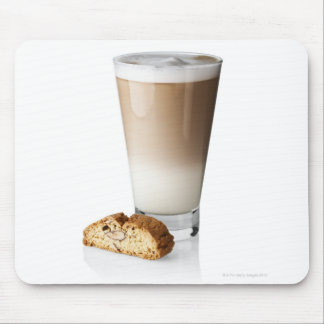Caffe latte with biscotti, on white background, mousepad
