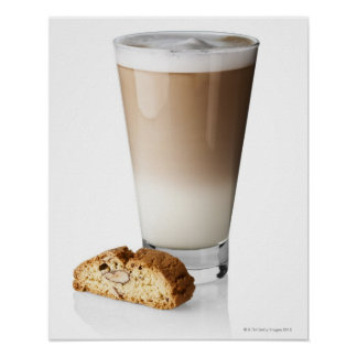 Caffe latte with biscotti, on white background, poster