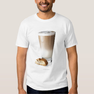 Caffe latte with biscotti, on white background, tshirt