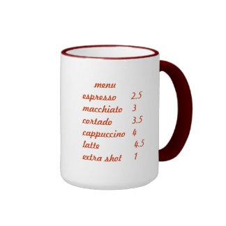 Caffe Mocias Menu and Logo Mug