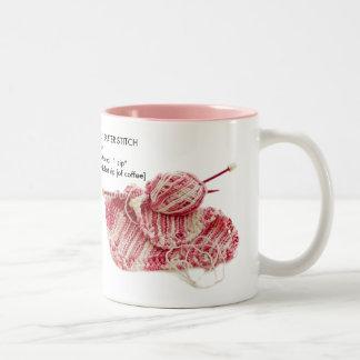 """""""Caffeinated Garter Stitch"""" - Fun Knit Pattern Two-Tone Mug"""