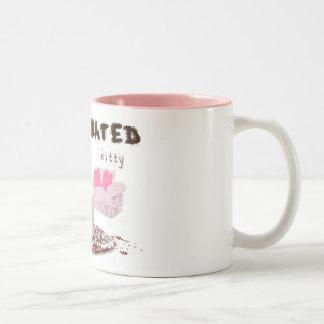 caffeinated kitty Two-Tone coffee mug