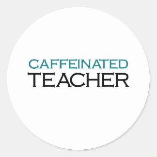Caffeinated Teacher (blue jolt) Round Sticker