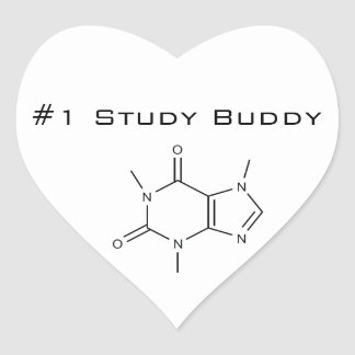 Caffeine #1 Study Buddy Heart Sticker
