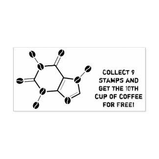 caffeine molecular beans rubber stamp