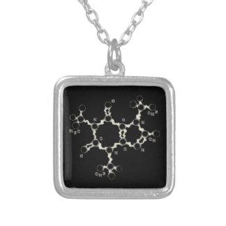Caffeine Molecule Silver Plated Necklace
