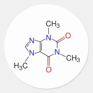 Caffeine Molecule Round Sticker