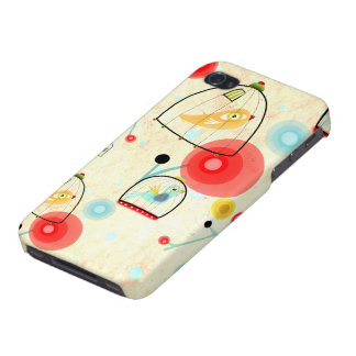Cage Birds Cute Poppies Art iPhone 4/4S Case
