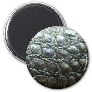 Caiman Crocodile Faux Alligator-Skin Design 6 Cm Round Magnet
