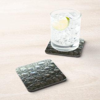 Caiman Crocodile Faux Alligator-Skin Design Drink Coaster