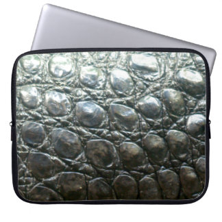 Caiman Crocodile Faux Alligator-Skin Design Laptop Computer Sleeve