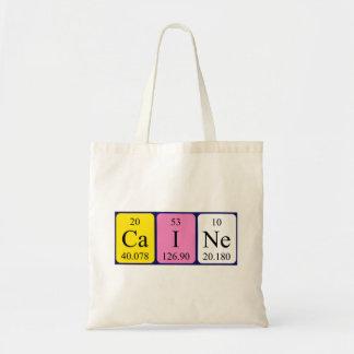 Caine periodic table name tote bag