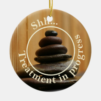 Cairn Meditation Stones Do Not Disturb Round Ceramic Decoration