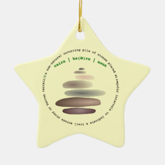 Cairn stacked stone ceramic ornament