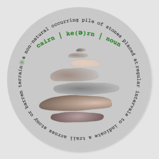 Cairn stacked stone classic round sticker