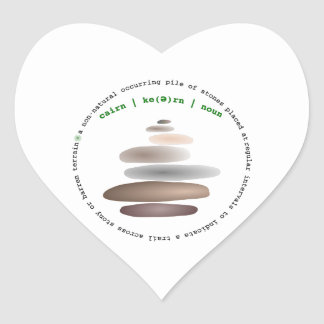 Cairn stacked stone heart sticker