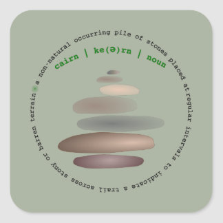 Cairn stacked stone square sticker