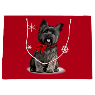 Cairn Terrier at Christmas Large Gift Bag