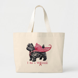 Cairn Terrier Breast Cancer Large Tote Bag