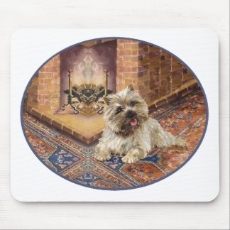 Cairn Terrier by Cozy Fireplace Mouse Pad